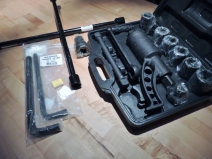 Received Torque Amplifier, Lug Wrench, and Allen Keys for Drain Plugs