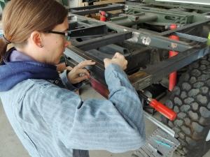 Marking Subframe to Hab Floor Bole Hole Locations on Subframe Rails