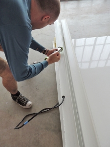 Applying Adhesive for Roof Bond (Note Wiring)