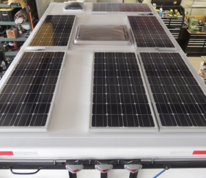 Bonded Solar Panels to Roof of Habitat