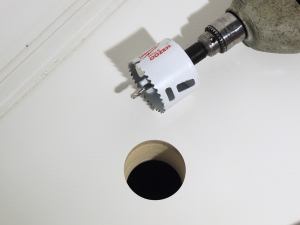Drilled Hole for Airhead Composting Toilet Fan