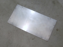 Fabricated and painted aluminum plate for bike enclosure