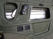 Applied Sound Deadening Mat to Interior Surfaces of Doors