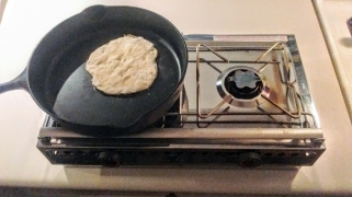 Test Cooked Naan Bread on Alcohol Stove
