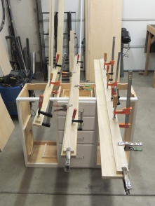 Assembled, glued, and screwed bed support rails