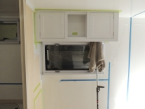 Dry fit and masked upper kitchen cabinet