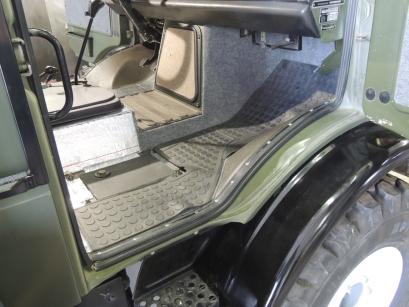 Final Installed Carpet and Rubber Floor Mat - Passenger Side