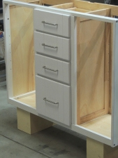 Installed Slides and Drawers in Kitchen Cabinet