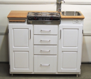 Test assembled entire lower kitchen cabinet