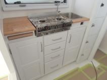 Assembled kitchen lower cabinet
