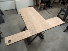 Final sanded and finish sprayed urethane on new dinette table