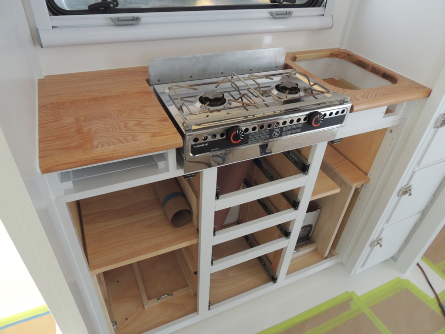 Kitchen Lower Cabinet Installation Sequence Heat Shield For Stove Stove Slide Out Cutting Board Drawers Doors Sink Wabi Sabi Overland