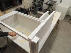 Prepped and applied first coat of paint to calorifier cabinet assembly