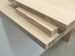 Routed edges of oak plank