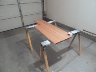 Applied first 2 coats of urethane to passenger side table