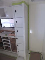 Masked, prepped, bonded, and screwed kitchen pantry