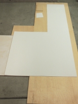 Rough cut FRP panel for shower area divider