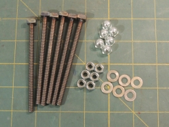 Welded square nuts to stainless 6M all-thread for awning t-bolts