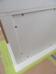 Final installed forward bench cabinet face