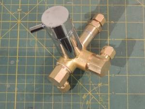 Machined brass fitting and sauder assembled shower valve