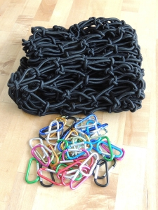 Received bungee cargo net and carabiners