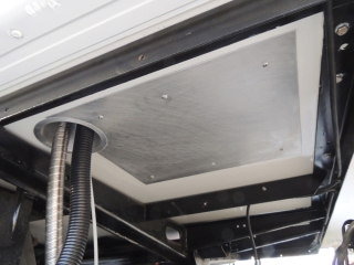 Fabricated and installed heat shield for heater on underside of habitat