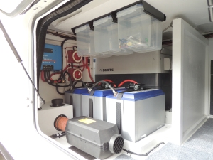 Installed overhead storage bins