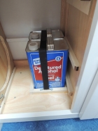 Installed stove alcohol cans