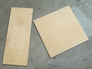 Measured and cut plywood for seat backs