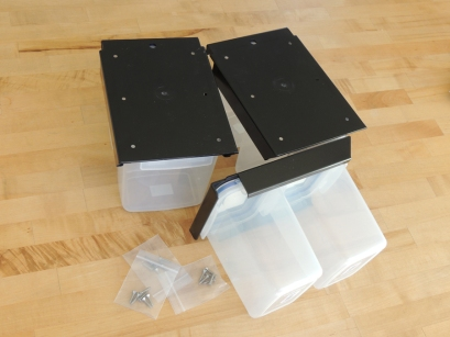 Received overhead storage bins (for under bed)