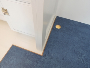Started installation of marmoleum flooring