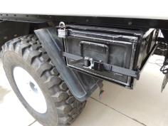 Installed anti-rattle straps on under subframe storage boxes