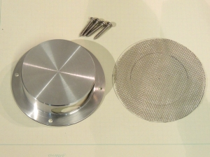 Cut stainless steel screen for toilet vent fan splash guard
