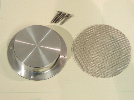 Cut stainless steel screen for toilet vent fan splash guard