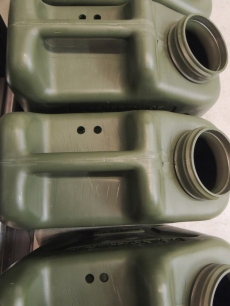 Drilled holes in water Jerry cans