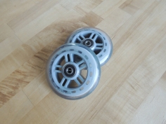 Purchased wheels for new folding ladder base