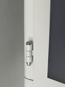 Replaced cabinet hinge pins with small stainless steel bolts and lock nuts