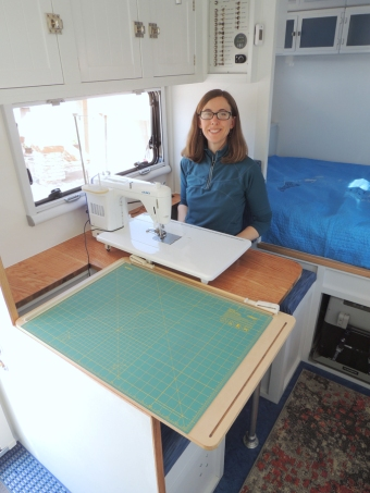 Tested stowing and setting up sewing machine and OLFA cutting mat
